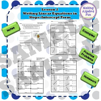 Algebra Slope & Writing Equations of Lines Lesson Notes Homework Quiz & Test