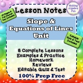 Algebra Slope & Writing Equations of Lines Notes HW Quiz &
