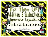 Algebraic Addition and Subtraction Equation Math Center
