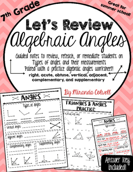 Algebraic Angles Review Notes/Practice Worksheet