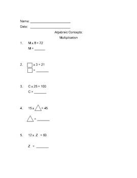 Algebraic Concepts- Elementary Level