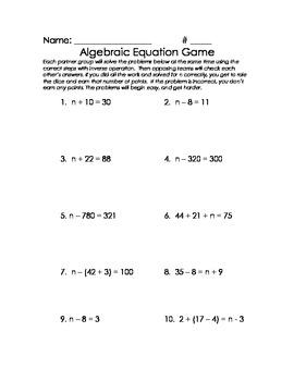 Algebraic Equation Game