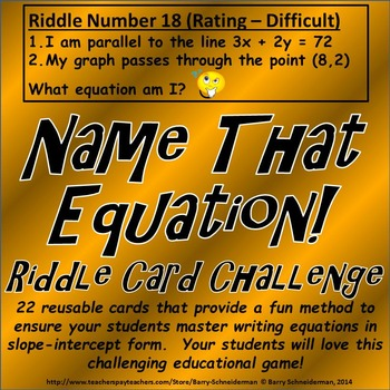 Algebraic Equation Riddle Cards (Writing Equations in Slop