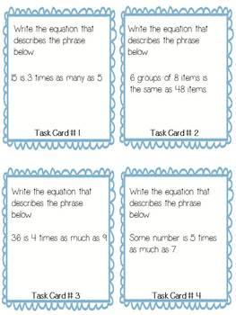 "Algebraic Equation ""Scoot"" Task Cards -Common Core Aligned"