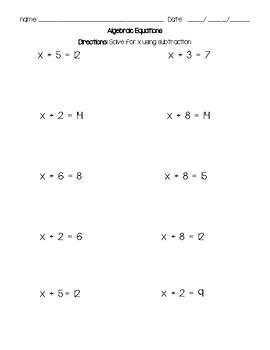 Algebraic Equation subtraction High School VAAP alternative assessments Autism