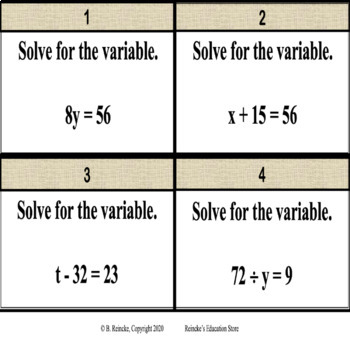 Algebraic Equations (1-step) Task Cards