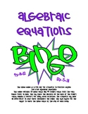 Algebraic Equations BINGO