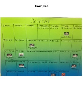 Algebraic Equations Calendar Project