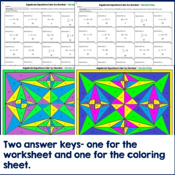 Algebraic Equations Math Color by Number