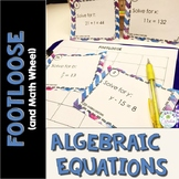 Algebraic Equations Task Cards - Footloose Math Game and Math Wheel