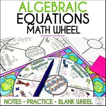 Algebraic Equations Math Wheel, with Editable Wheel