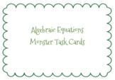 Algebraic Equations Monster Task Cards