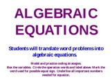 Algebraic Equations PowerPoint