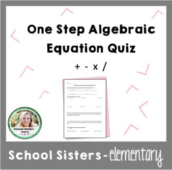 Algebraic Equations Quiz & Answer Key