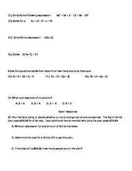 Algebraic Equations Review