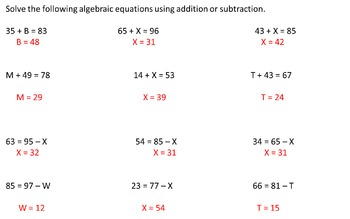 Algebraic Equations Study Guide (With Answers)
