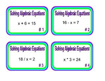 Algebraic Equations Task Cards