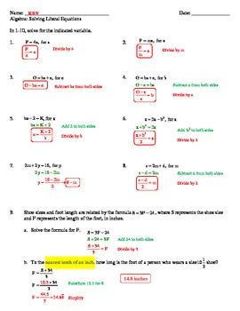 Algebraic Equations Worksheets (5)