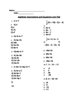 Algebraic Equations and Expressions Unit Test