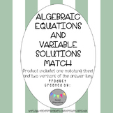 Algebraic Equations and Variable Solutions Match