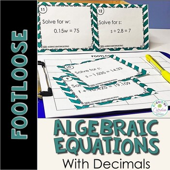 Algebraic Equations with Decimals Task Cards - Footloose Activity