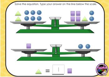 Algebraic Equations with Pan Balances Digital Boom Cards