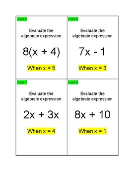 Algebraic Expression Activities and Assessment