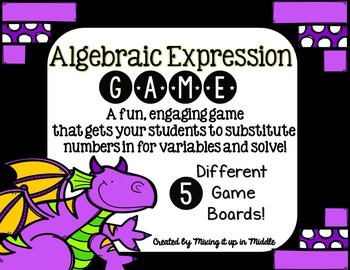 Algebraic Expression Substitution Math Center Game Activity