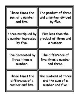 Algebraic Expression Memory Match-Up With Answer Key
