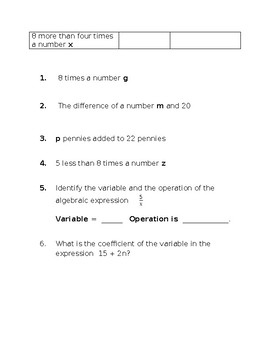 Algebraic Expression Notes and Guided Practice