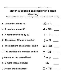 Algebraic Expression VAAP Visual Helper Autism