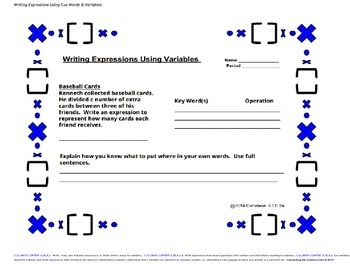 Variables in Algebraic Expression Writing