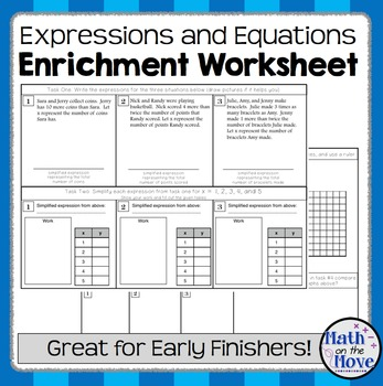 Expression and Equation - Enrichment Worksheet (7.EE.2 and