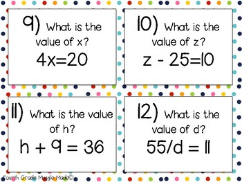 Algebraic Expression and Equations Task Cards