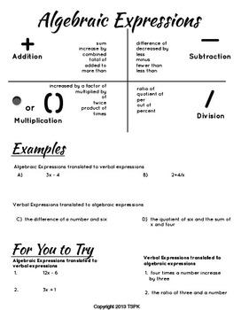 Algebraic Expressions Lesson
