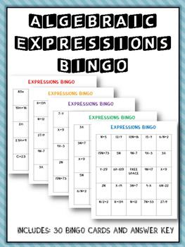 Algebraic Expressions: Bingo