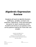 Algebraic Expressions - Using Term, Variable, Coefficient,