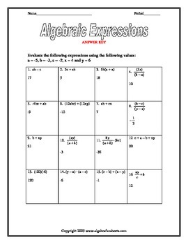 Algebraic Expressions:  Evaluating 5 Variable Riddle