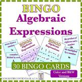 Algebraic Expressions BINGO 30-Card Set  Common Core 6.EE.A.2a