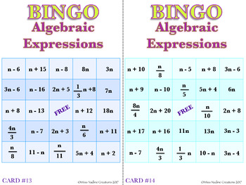 Algebraic Expressions BINGO 30-Card Set  Common Core 6.EE.A.2a