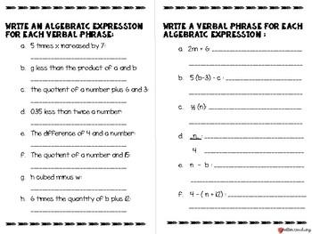 Algebraic Expressions Bundle