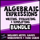 Algebraic Expressions Bundle - Includes Notes, Task Cards, Worksheets, & Game!