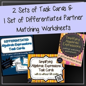 Algebraic Expressions Bundle - Includes Notes, Task Cards, Worksheets, & Game!