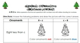 Algebraic Expressions Christmas Portrait 6.EE.2a *Common Core Aligned*