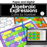 Algebraic Expressions Activity Color by Number Distance Learning