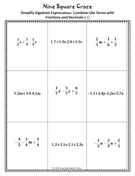 Algebraic Expressions Combine Like Terms Game Activity with Rational Numbers