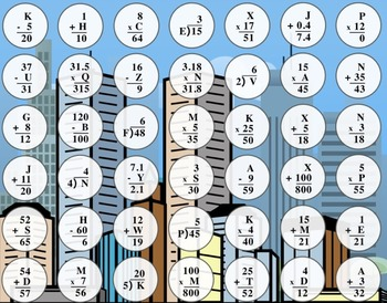 Basic Algebraic Equations Connect Four Game