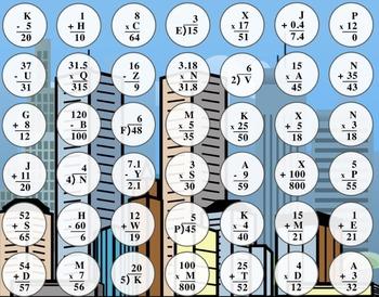 Basic Algebraic Equations Connect Four Game