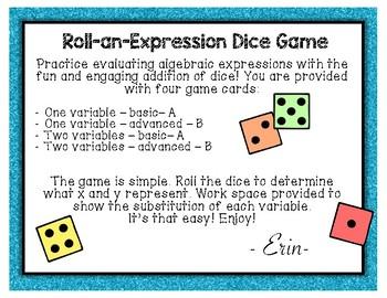 Algebraic Expressions Dice Game - Evaluating Expressions - Pre-Algebra