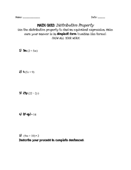 Algebraic Expressions: Distributive Property Quiz